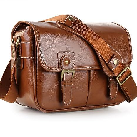 c69ca3f747 Koolertron Waterproof Vintage fashionable PU Leather DSLR Camera Bag  Shoulder Messenger Bag Fit DSLR with 2