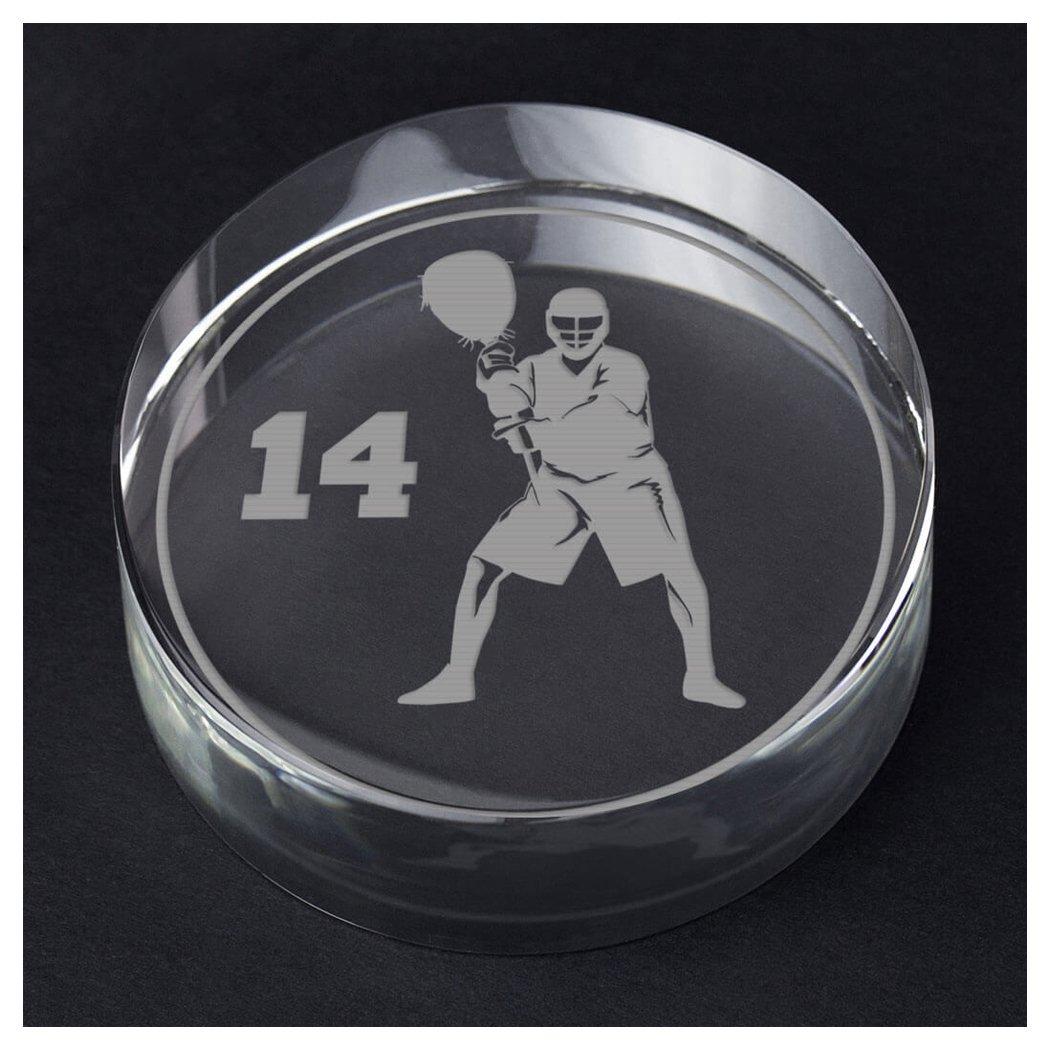 ChalkTalkSPORTS Guys Lacrosse Personalized Crystal Award Gift   Goalie Silhouette Custom Number