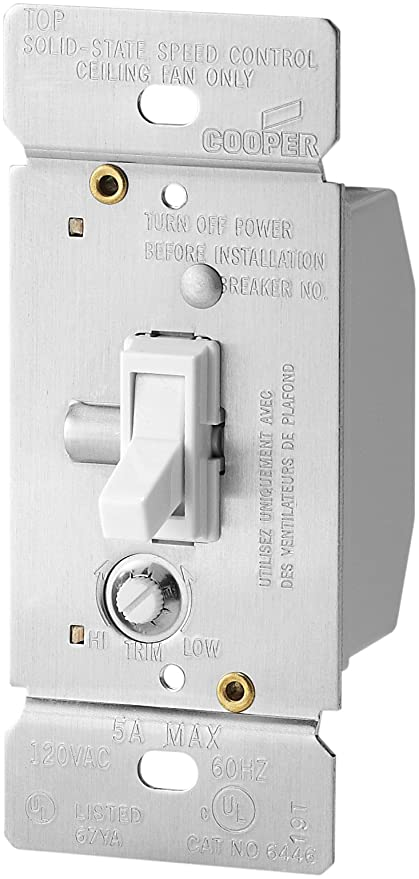 Eaton TFS5-WK 5-Amp Single-Pole Fully Variable Fan Speed Control with  Non-Preset, White