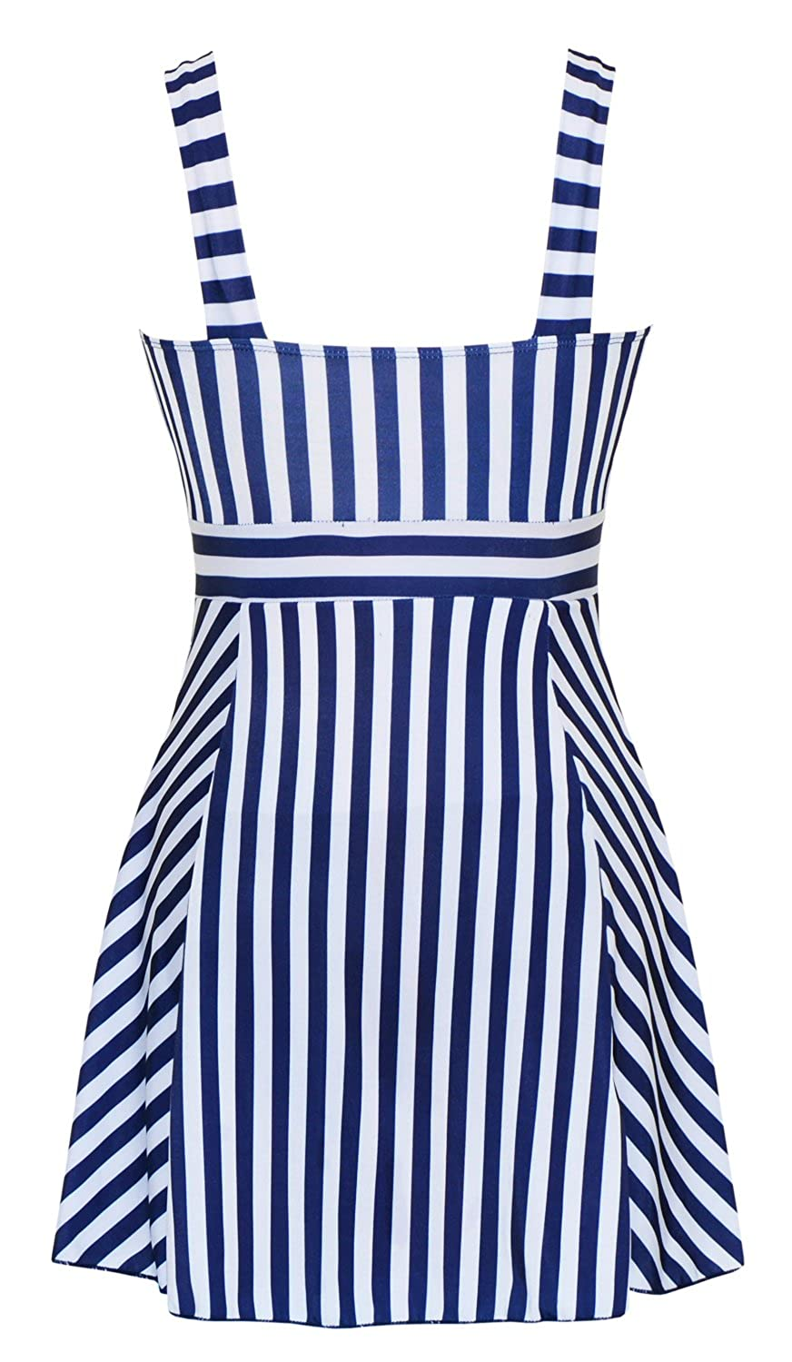 81eb9b584ae21 Women's One Piece Sailor Vintage Swimsuit Tankini Plus Size Cover Up  Swimdress at Amazon Women's Clothing store: