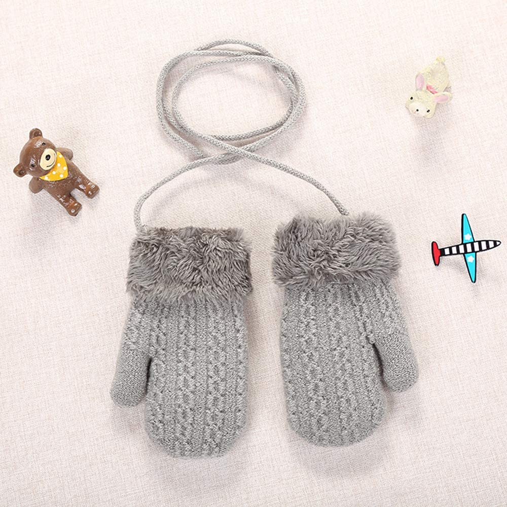 11 x 13 cm IPENNY guantes de punto de invierno para ni/ños de banda de dibujo doble capa de lana y guantes c/álidos Guantes para ni/ños de 0 a 3 a/ños