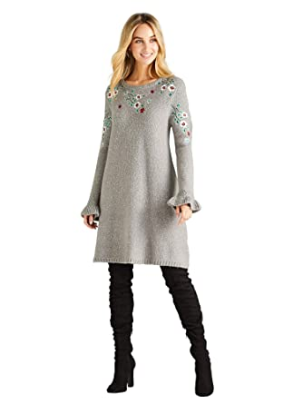 89bf185e05f YUMI Knitted Floral Embroidered Tunic Dress Dark Grey: Amazon.co.uk:  Clothing