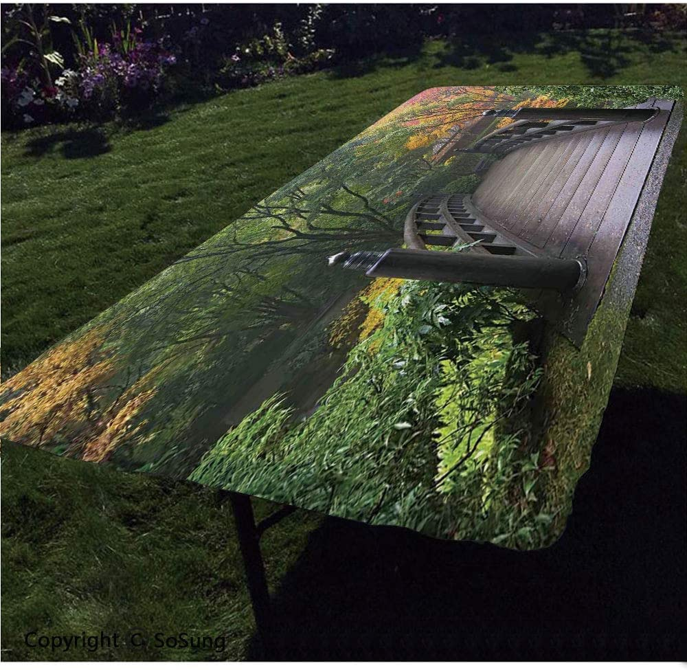 Nature Polyester Fitted Tablecloth,Wooden Bridge at Portland Japanese Garden Oregon in Foggy Autumnal Morning Park Rectangular Elastic Edge Fitted Table Cover,Fits Rectangular Tables 60x30 Green Cora
