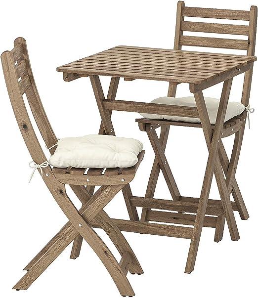 Opulence Trading - Juego de Muebles Plegables para jardín (1 Mesa + 2 sillas), Cojines incluidos: Amazon.es: Jardín