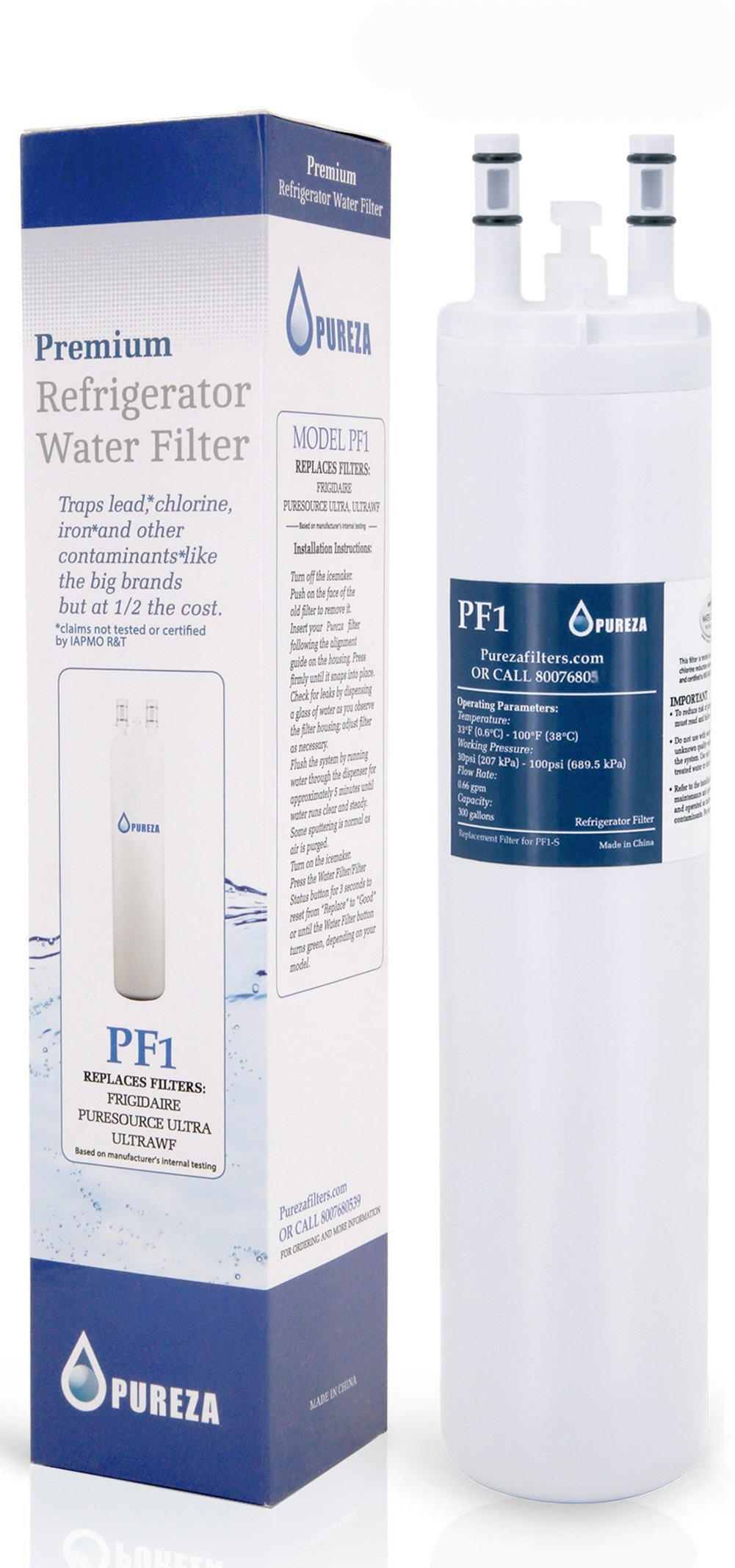Pureza Water Filter - Compatible Cartridge For ULTRAWF Frigidaire Refrigerators & Ice Makers - Compatible with Puresource, Gallery, Professional Series Fridge and Some Electrolux Models, 1 Pack