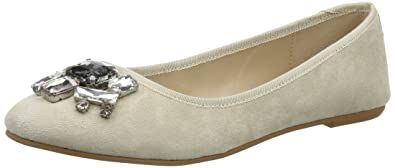 Buffalo London Damen 216-4052 Kid Suede Geschlossene Ballerinas, Beige (Nude 01), 38 EU