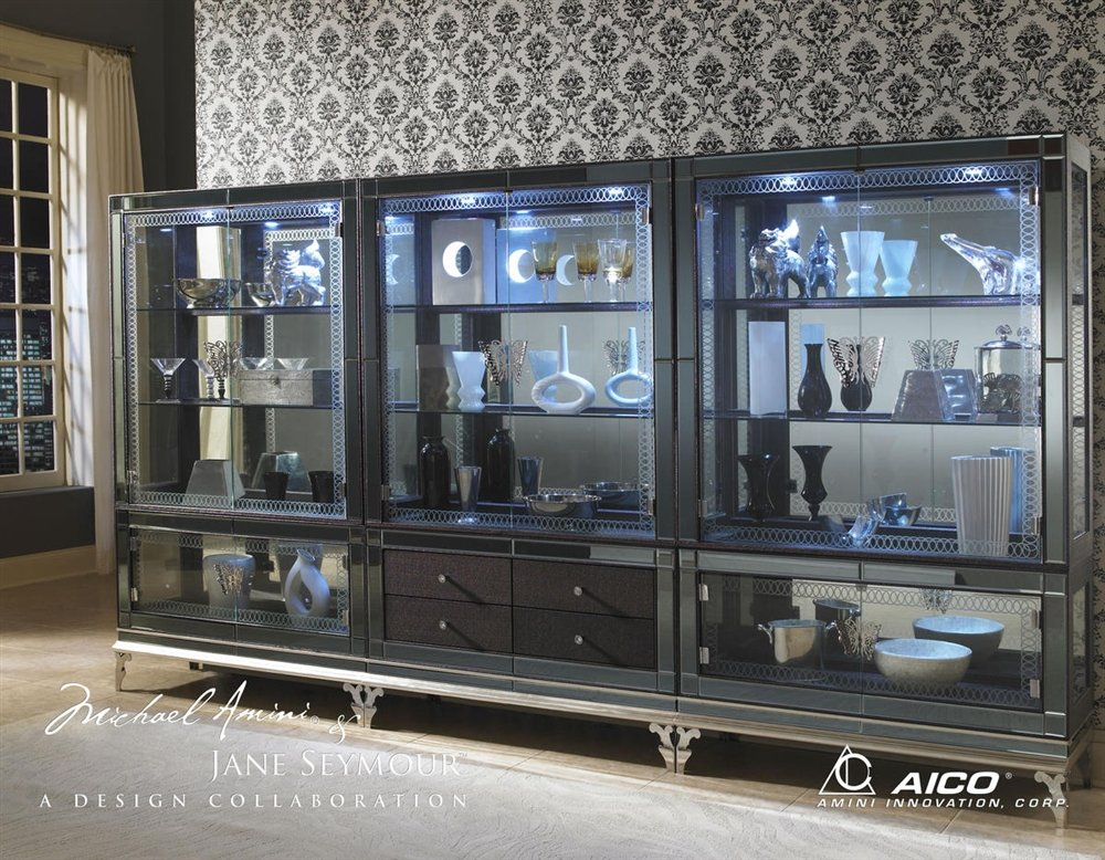 Hollywood Swank Curio with Drawers in Caviar By Aico Amini