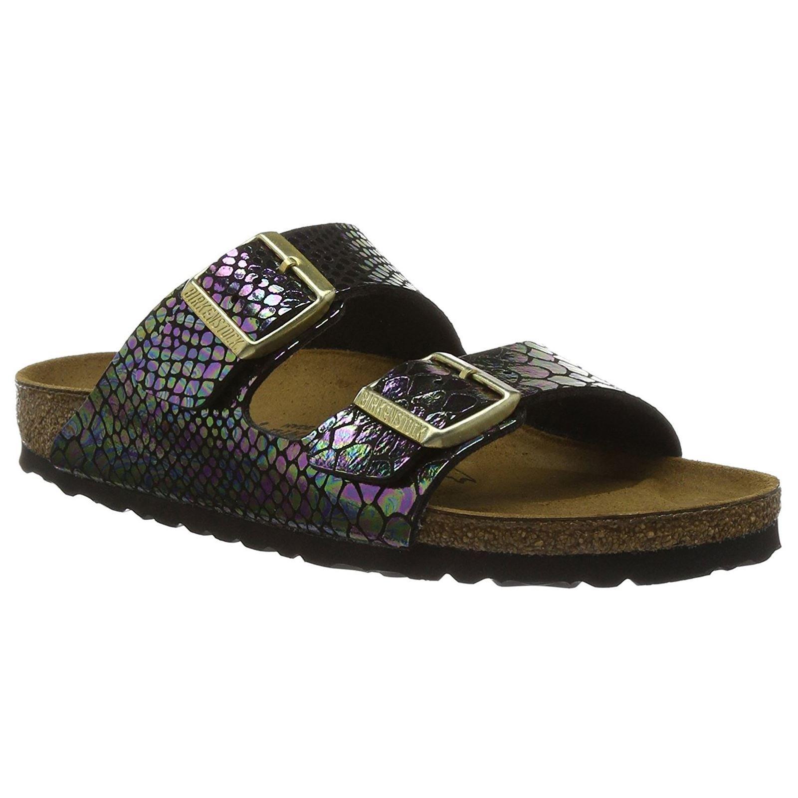 Birkenstock Unisex Arizona Shiny Snake Black Multi Birko-flor Sandals - 7-7.5 B(M) US Women