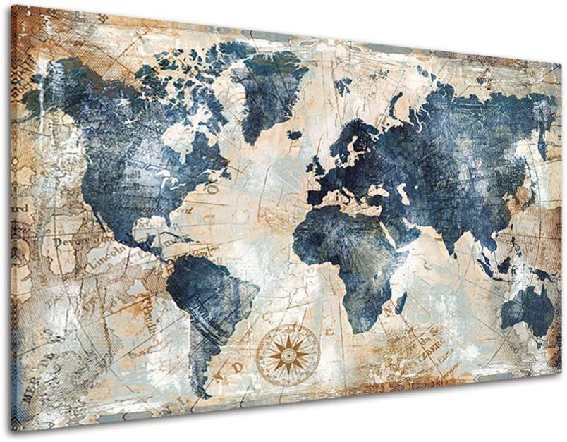 RINWUNS Vintage World Map Canvas Wall Art Retro Map of The World Wall Painting Giclee Picture Modern Nautical Canvas Prints Decor For Living Room Bedroom Unframed 1 PC 16x24inch (Only Canvas)