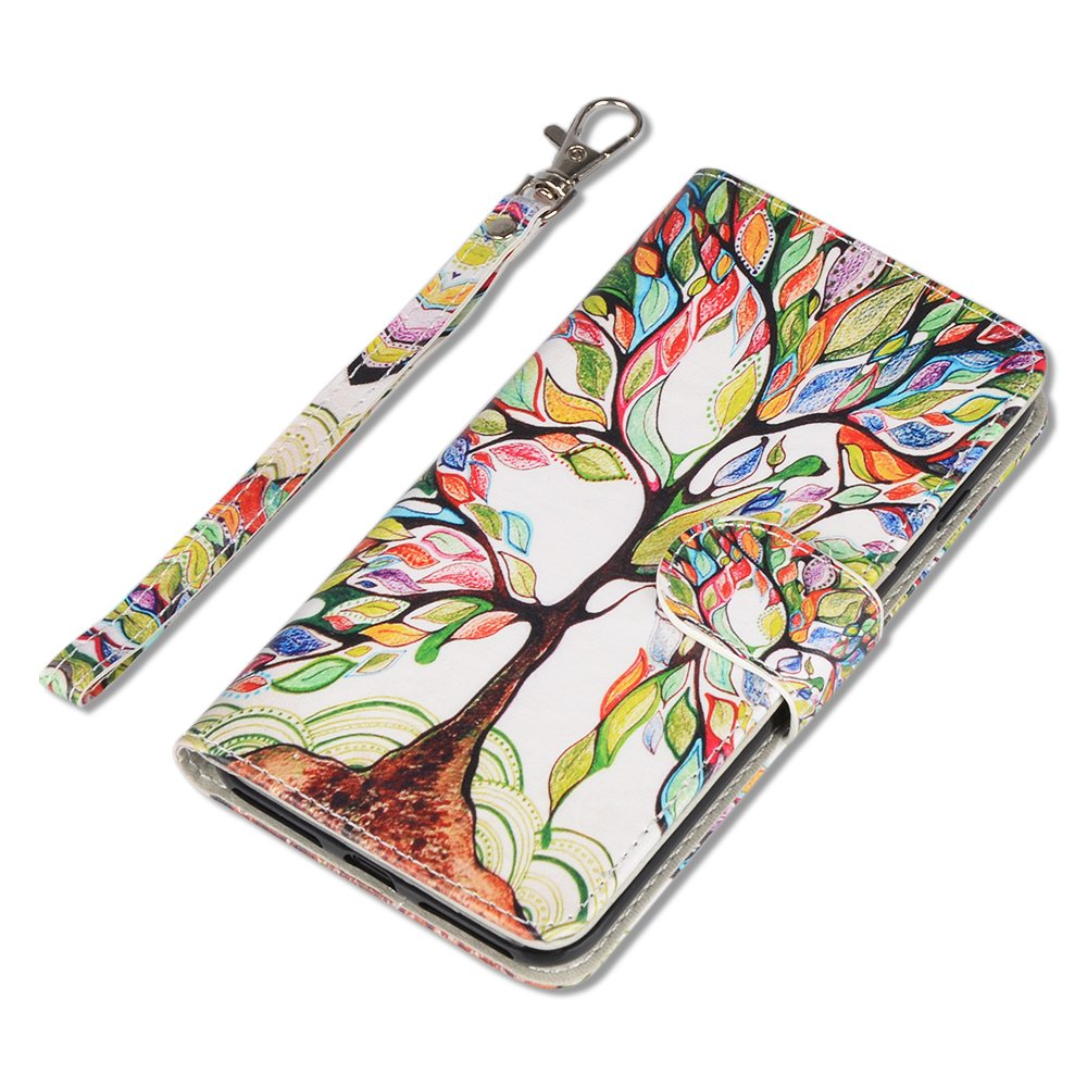 iPhone SE Case, UrSpeedtekLive iPhone SE Wallet Case, Premium PU Leather Funny Case Flip Cover with Card Slots & Stand For iPhone 5/5S/SE, Life Tree Pattern by UrSpeedtekLive (Image #3)