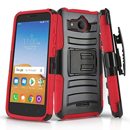 Phone Case for [ALCATEL Tetra (5041C)], [Refined Series][Red] Shockproof  Cover with [Kickstand] & [Swivel Belt Clip Holster] for Alcatel Tetra  (5041C)