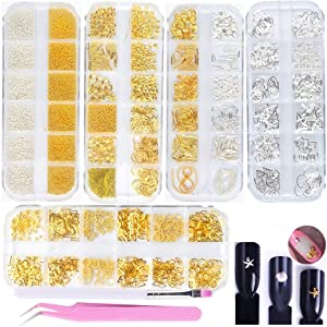 editTime 5 Boxes Gold & Silver Metal Nail 3D Punk Studs Star Moon Heart Triangle Square Rivet Gems Nail Art Jewels with a Curved Tweezers and a Nail Brush (gold & silver)