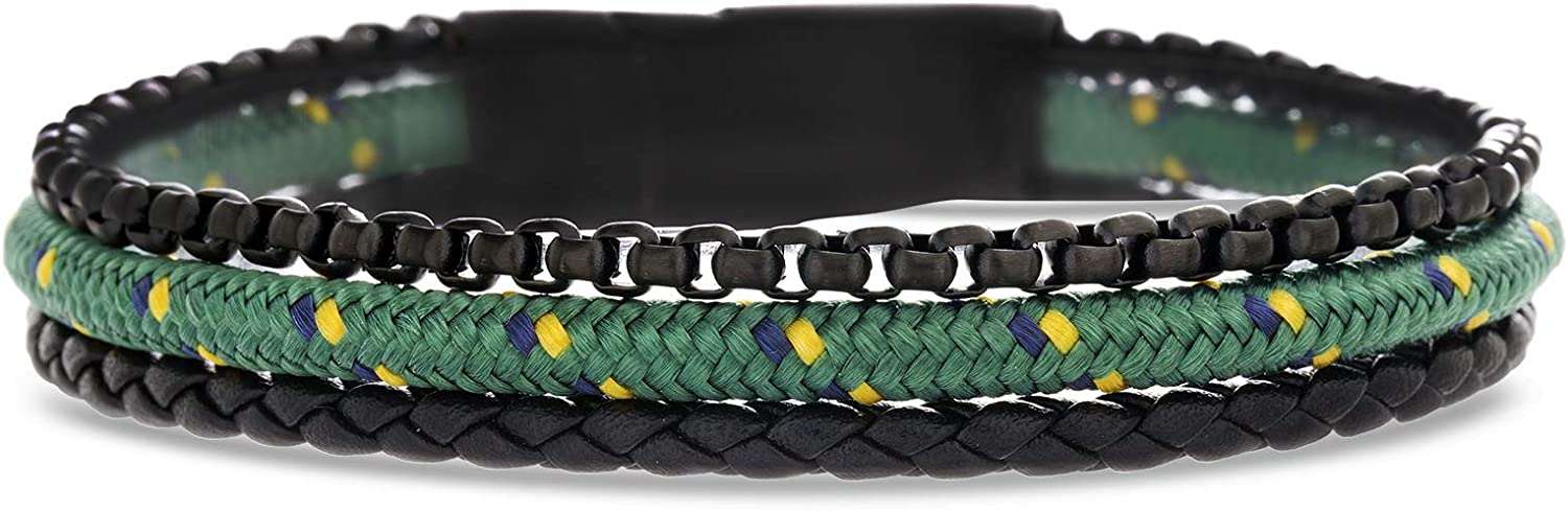 """Ben Sherman 8"""" Triple Stranded Magnetic Leather, Cord, and Chain Bracelet for Men in Stainless Steel"""