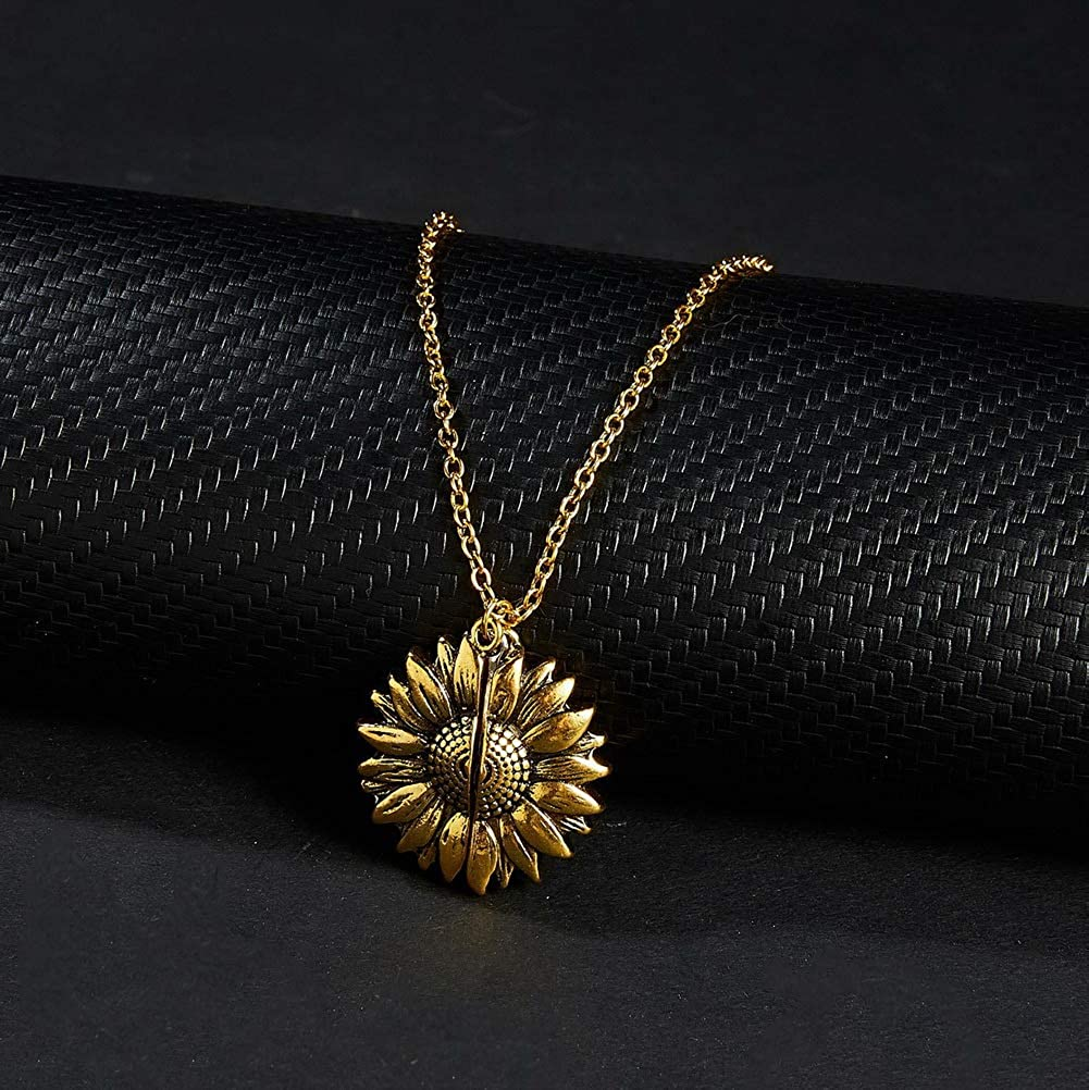 kuou Sunflower Locket Necklace You are My Sunshine Engraved Pendant Necklace Can Be Opened for Women Girl Birthday Christmas Wedding Gift