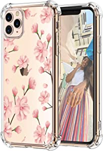Hepix Floral iPhone 11 Pro Clear Case Pink Plum Blossom Flowers 11 Pro Cases, iPhone Cover with Protective Bumpers, Slim Flexible TPU Frame Raised Bezel Camera Screen Protetcion, Gift Choice