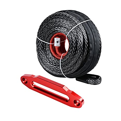 Red Devil Angry Fury Alluminum 10 inch Hawse Fairlead ATV UTV Truck Boat KFI Ramsey 4x4 4DW Astra Depot 92ft x 1//2 inch 22000LBs Synthetic Winch Rope Cable Heat Guard w//Red Winch Hook