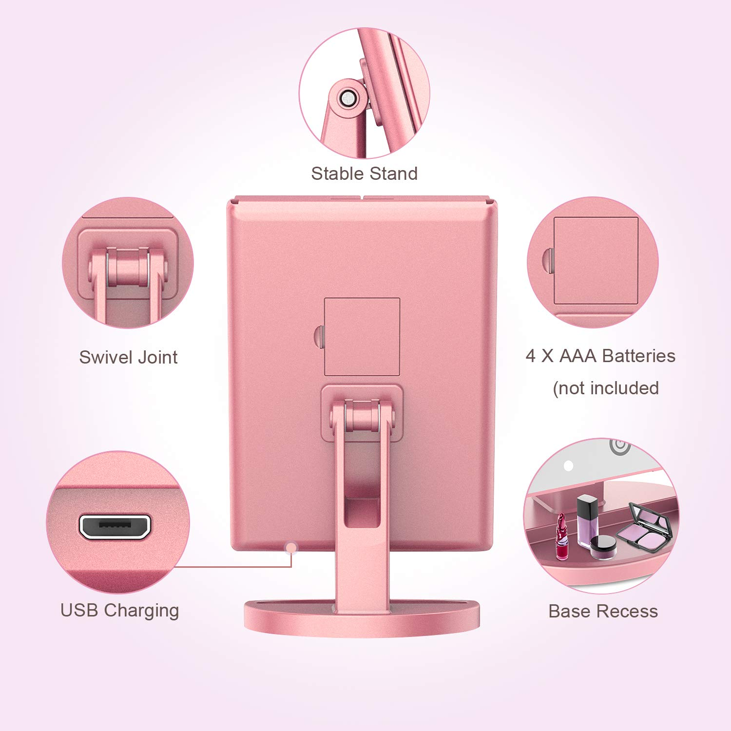 21 Led Lighted Mirror with Touch Screen,180/° Adjustable Rotation,Dual Power Supply,Portable Trifold Mirror 2X//3X Magnification BESTOPE Makeup Vanity Mirror with Lights