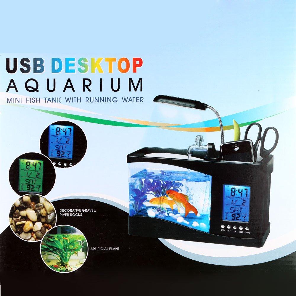 Usb mini aquarium fish tank with colorful light - Amazon Com Docooler Usb Desktop Mini Fish Tank Aquarium With Led Clock Pet Supplies