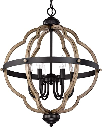 ACLand 6-Light Farmhouse Chandelier Rustic Metal Pendant Light Fixture Matte Black and Wood Texture Finish Industrial Ceiling Hanging Lighting