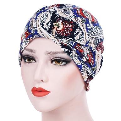 Womens India Islamic Muslim Headwear Scarf Soft Comfortable Elastic Turban  Beanie Head Wrap Floral Chemo Cap Stretch Hijab Underscarf Hair Accessories  ... 773b75a33db2