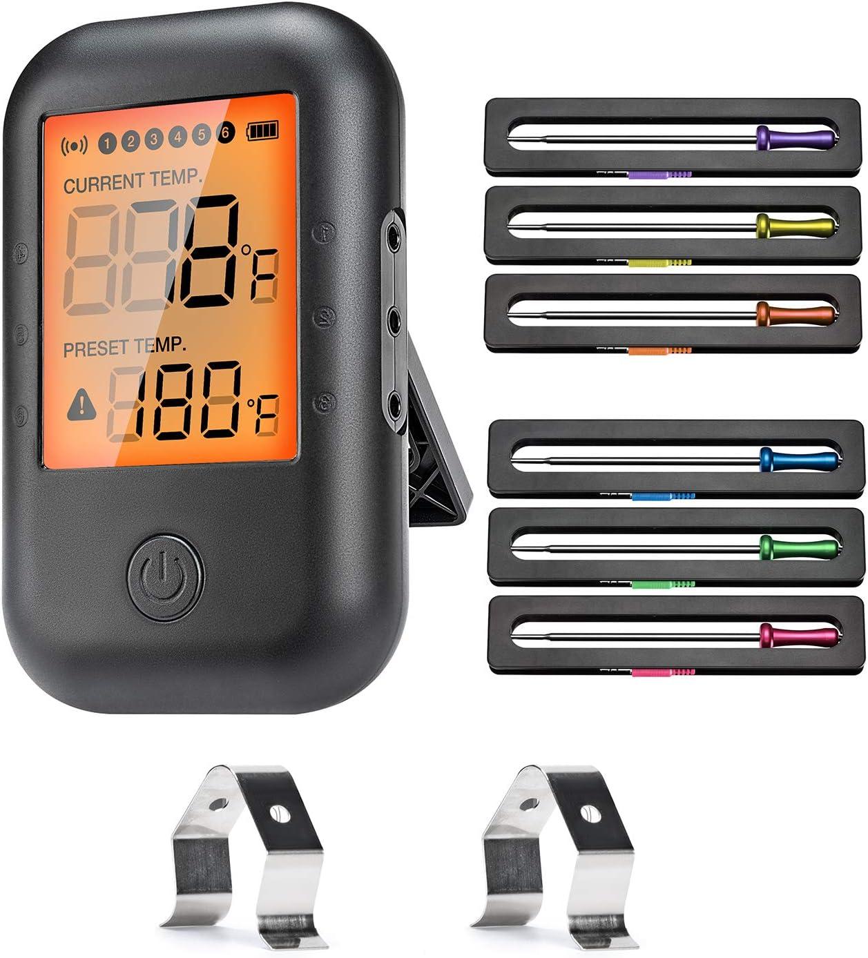 VIBIRIT Termómetro inalámbrico Grill, Termómetro Digital de Carne,Termómetro de cocina Bluetooth con 6 sondas,Termómetro asado para cocina, parrilla, comida, leche, filete, pescado, barbacoa