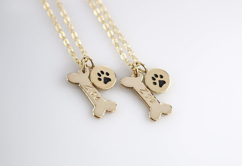 Birthstone Necklace Personalized Necklace Gold Initial Necklace Gold Initial Necklace Bone Charm Dog Charm Bone Necklace
