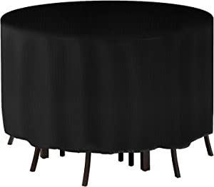 Tvird Round Patio Furniture Covers,600D Heavy Duty Outdoor Furniture Covers with 2 Fixing Buckles and Wind Draw String,50