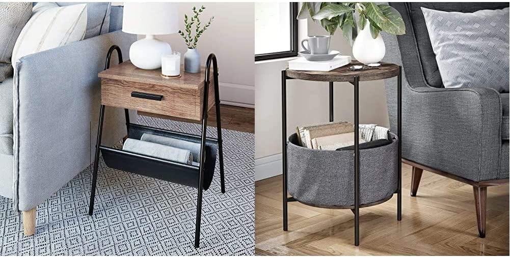 Nathan James 32501 Hugo Nightstand Accent Rustic Wood Table with Drawer, Brown/Black & 32201 Oraa Round Wood Side Table with Fabric Storage, Nutmeg Brown/Black