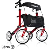 Deluxe Aluminum Rollator Walker, with 10'' Wheels Compact Folding Design Lightweight Baking Finish By OasisSpace (Cherry Red)