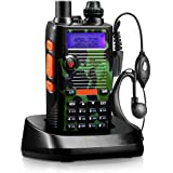Two Way Radio 8 Watt 2800mAh Rechargeable Large Battery FCC Dual Band VHF 136-174MHz UHF 400-520MHz Long Range Water Resistant 128 Channels Walkie Talkie Earpiece Full Kit (Upgraded 2800mAh)