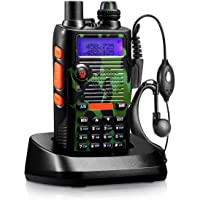 8 Watt 2800mAh Two Way Radio Rechargeable Large Battery FCC Dual Band VHF 136-174MHz and UHF 400-520MHz Long Range Water Resistant 128 Channels Walkie Talkie with Earpiece Full Kit (Upgraded 2800mAh)