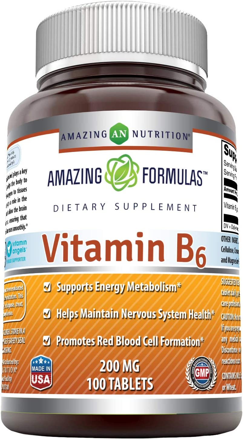 Amazing Formulas Vitamin B6 200Mg 100 Tablets (Non GMO,Gluten Free) Dietary Supplement Supports Healthy Nervous System, Metabolism & Cell Health