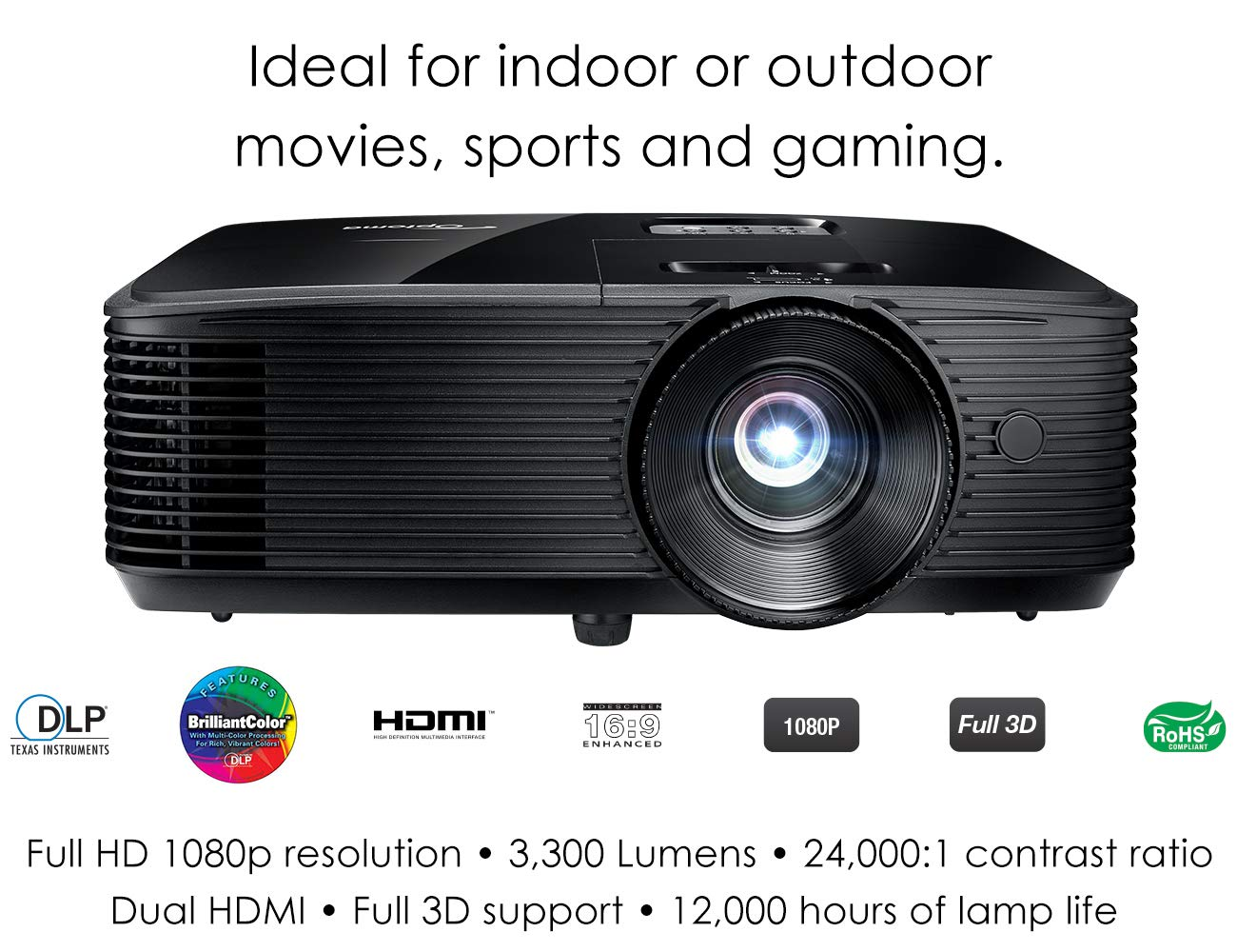 Optoma HD243X 1080p Projector for Movies and Gaming, Super Bright 3300 Lumens, Long 12000h Lamp Life, 3D Support, Easy Setup with Zoom and Keystone Adjustment by Optoma
