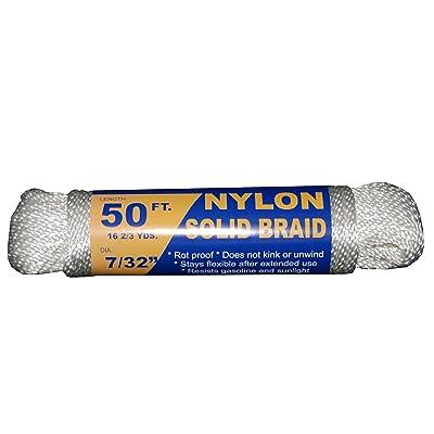 T.W Evans Cordage 44-073 7/32-Inch Solid Braid Nylon Rope 50-Feet Hank
