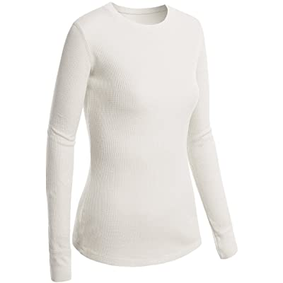 Active Basic Women Plain Basic Round Crew Neck Thermal Long Sleeves T Shirt Top