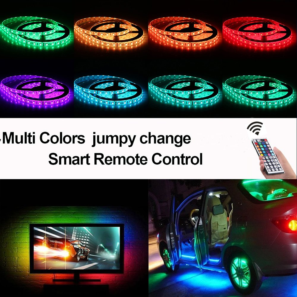 LED Light Strip Kit, Targher RGB LED Strip Waterproof SMD 5050 RGB 16.4Ft/5M 300 LEDs with 44Key Remote Controller and Power Supply for Holiday Party Outdoor Decoration by Targher (Image #6)