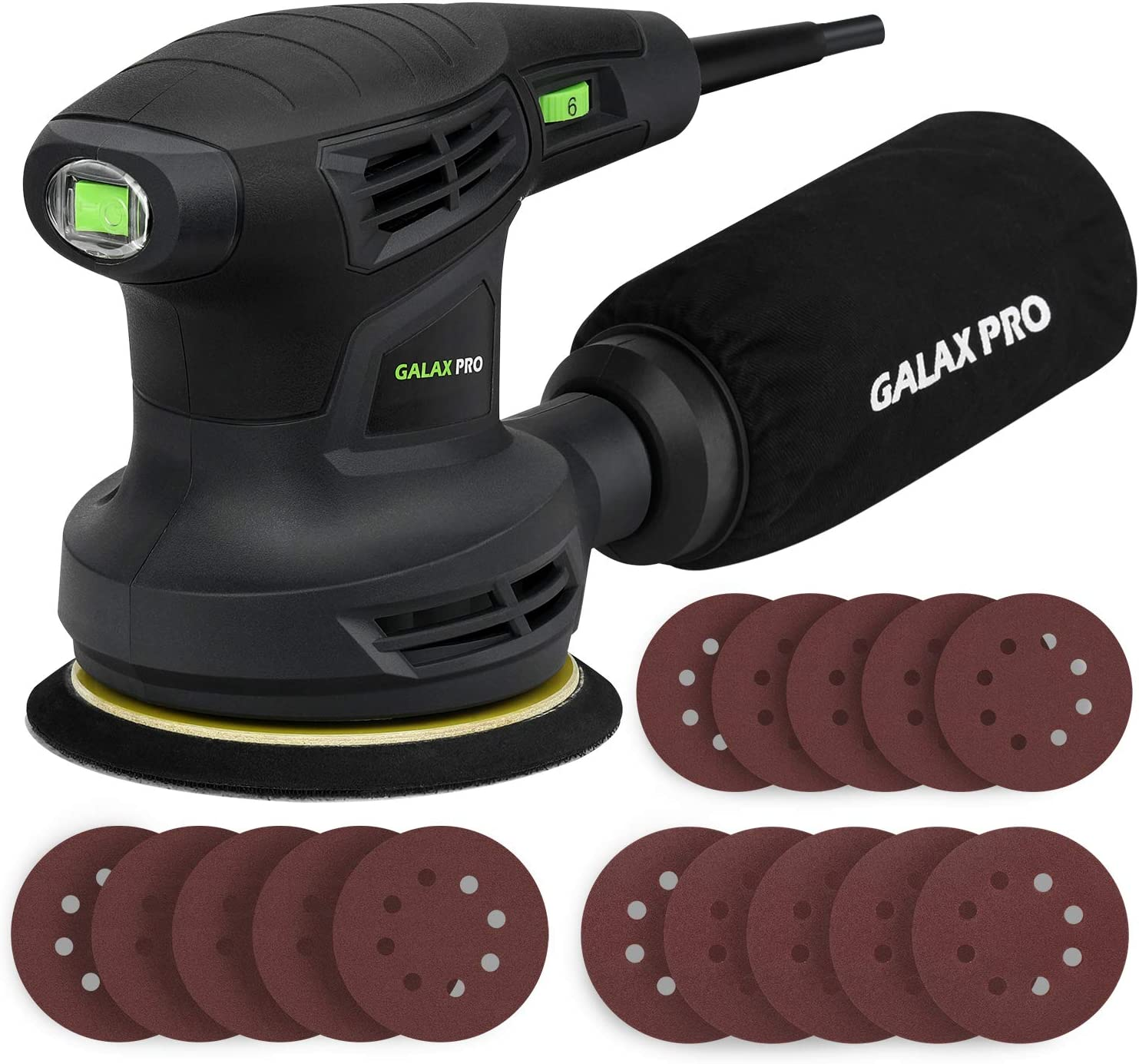 "GALAX PRO 280W 13000OPM Max 6 Variable Speeds Orbital Sander with 15Pcs Sanding Discs, 5"" Random Orbit Sander with Dust Collector for Sanding and Polishing"