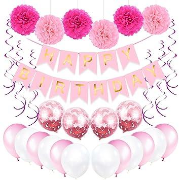 Bwiv Decoración Cumpleaños Globos Rosas Niñas, Banner de ...