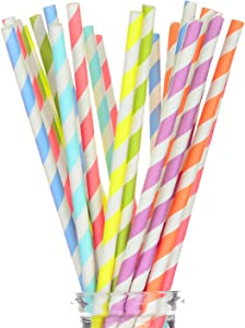 "175 Count Striped Paper Straws for Cake Pop Sticks, Party, Events and Crafts 7 3/4"" in Assorted Rainbow Colors of Special Curation (Striped)"