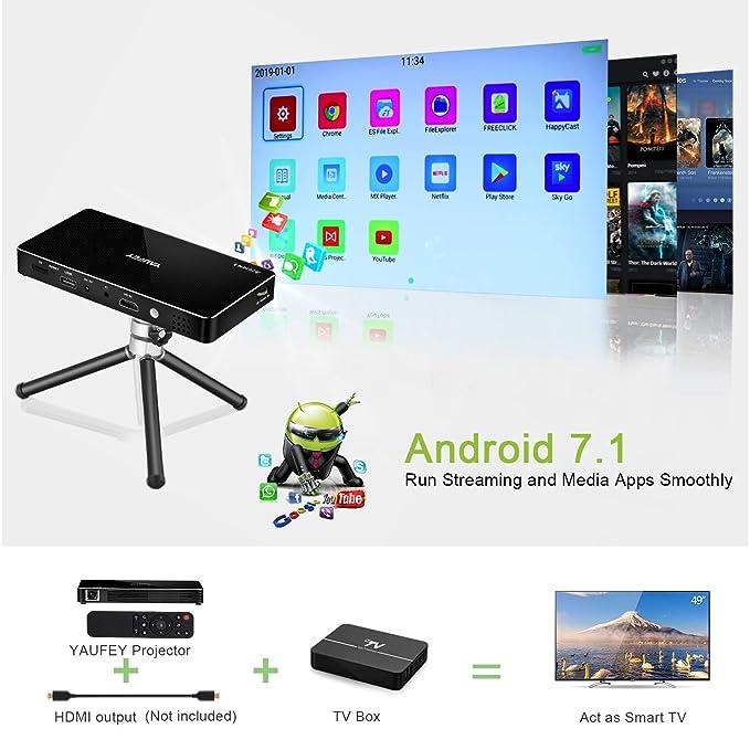 yaufey Mini proyector, Android 7.1 Portátil Proyector de Cine en ...