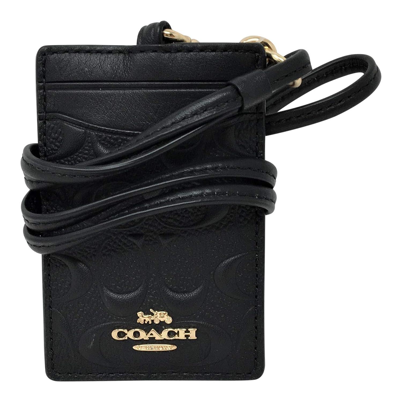 Coach Signature PVC Lanyard ID Badge Card Holder Black F73602