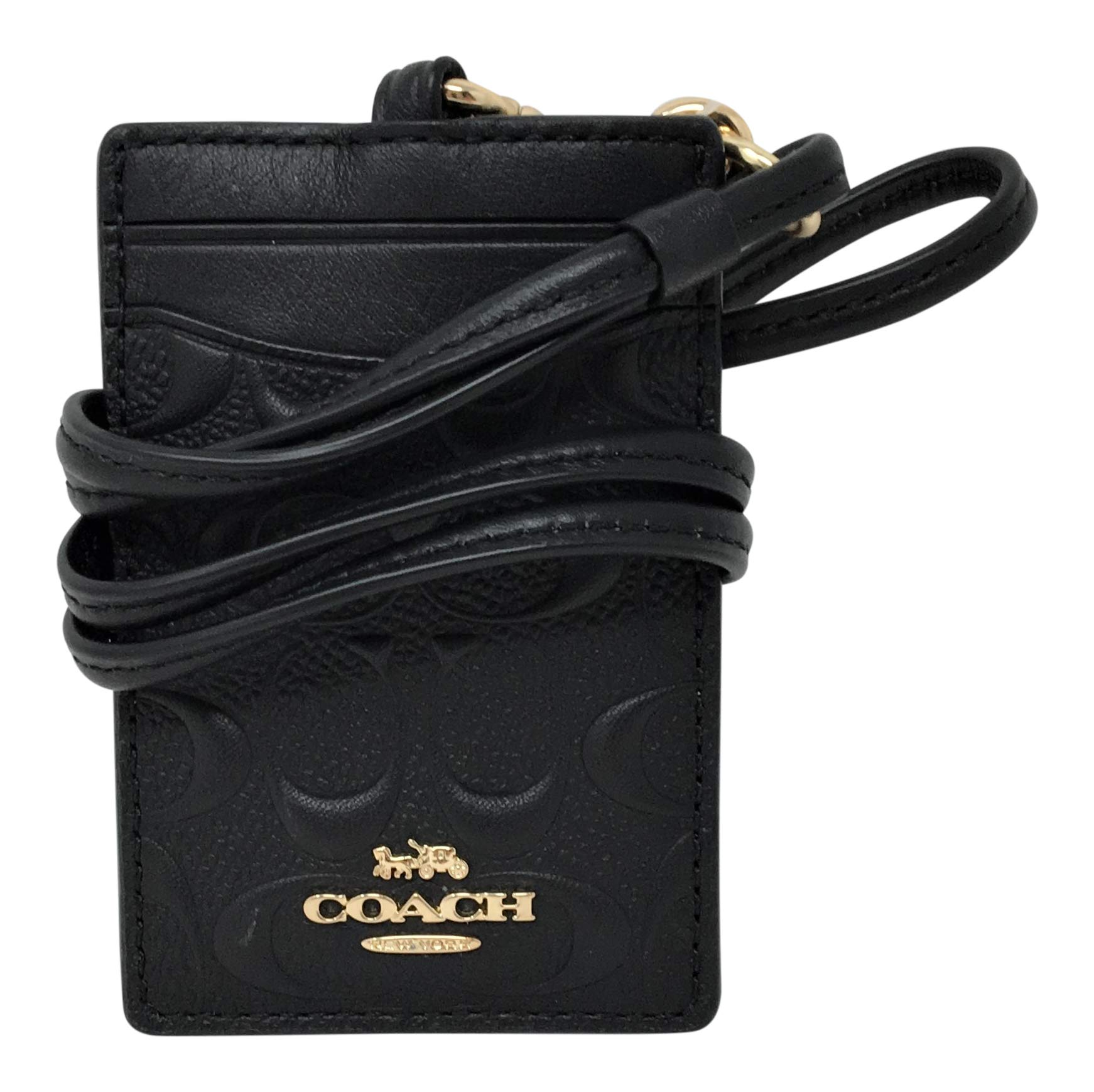 Coach Signature PVC Lanyard ID Badge Card Holder Black F73602
