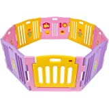 Kidzone Baby Playpen Kids 8 Panel Safety Play Center Yard Home Indoor Outdoor Girls (Pink)