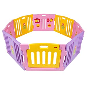 Kidzone Baby Playpen Kids 8 Panel Activity Safety Play Center Yard Home Indoor Outdoor Room Fun Girls Boy (Pink)