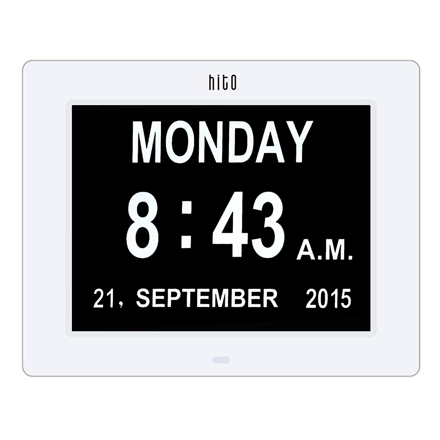 HITO Super Clear Desk Wall Clock w/ Date, Day of the week - 8 1/2 inches (White) hitoseller
