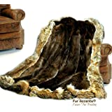 Luxury Fur Throw Blanket - Brown Beaver with Coyote Border - Premium Animal Friendly Faux Fur - Fur Accents - USA (5'x7')