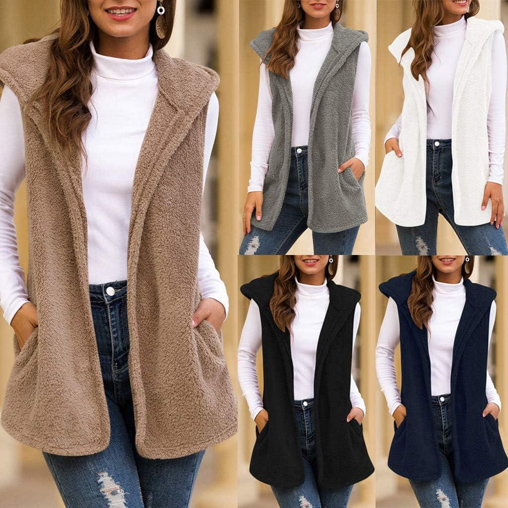 WOZOW Body Warmer Plush Vest Faux-Fur Gilets with Hood for Women