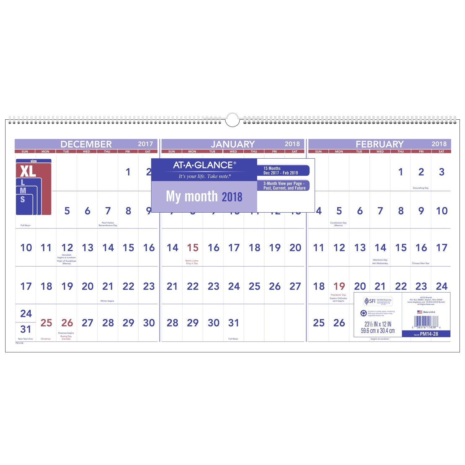 December 2017 To February 2019 Calendar Amazon.: AT A GLANCE 3 Month Reference Wall Calendar, December