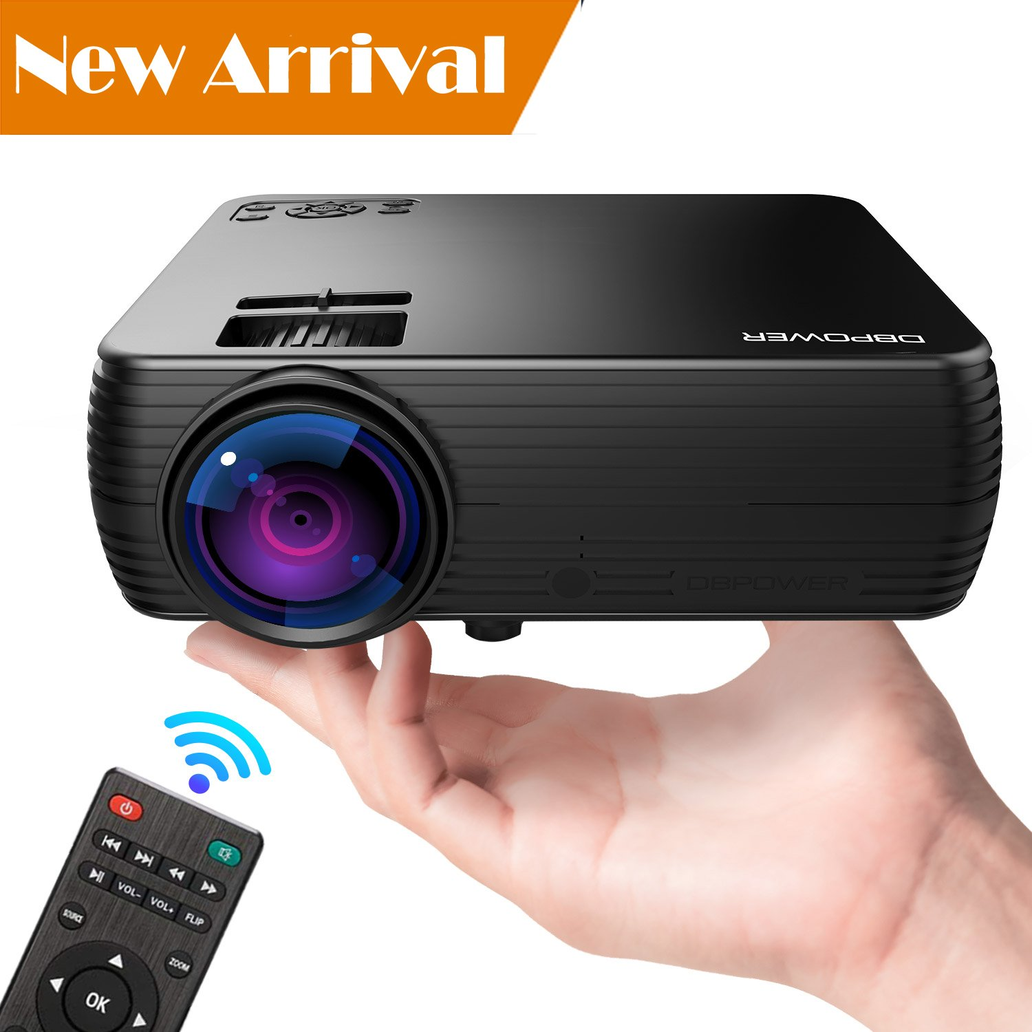 Projector, DBPOWER Mini Portable Video Projector 176'' Display 50,000 Hours LED Full HD Projector 1080P 2018 Released, Compatible with HDMI VGA AV USB TF Amazon Fire TV Stick