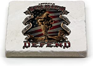 Natural Stone Coasters – US Army Gifts for Men or Women – Armed Forces Beverage & Beer Coasters – American Soldier Box Set (Set of 4)